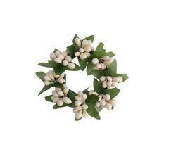 Ljusmanschett vit  med gröna blad