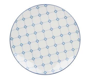 Assiett Tullie Blomma/Prick Ljusblå