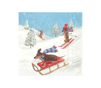 Servetter tävlande julhundar