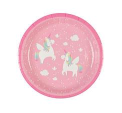 Papptallrikar rosa med enhörnngar