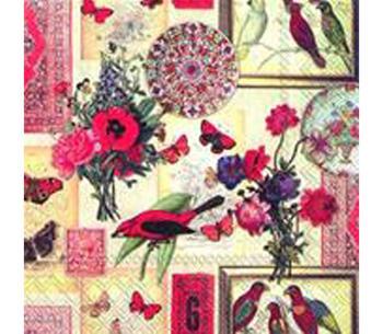 """Servetter  """"Exotic Collage"""" Exotiskt collage av fåglar och fjärilar"""