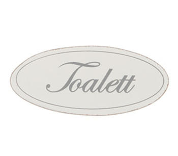 "Vit dörrskylt i trä  ""Toalett"""