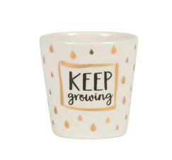 "Liten blomkruka vit ""Keep Growing"""