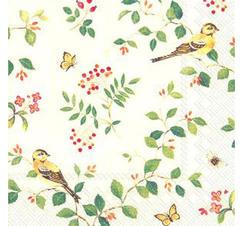 Servetter Blommor, fåglar och fjärilar