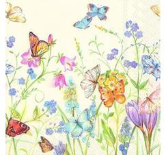Kaffeservetter Fjärilar och söta blommor