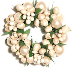 Ljusmanschett vita pärlor