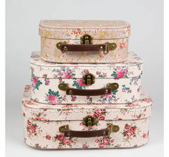 Resväskor blommor vintage